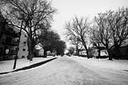 Winter Roads Framed Prints - snow covered residential street pleasant hill Saskatoon Saskatchewan Canada Framed Print by Joe Fox