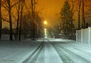 Mikki Cucuzzo Metal Prints - Snow covered road Metal Print by Mikki Cucuzzo
