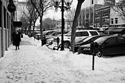 Sask Prints - snow covered sidewalk in downtown Saskatoon Saskatchewan Canada Print by Joe Fox