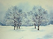 Snow-covered Landscape Painting Posters - Snow Covered Poster by Thomas Habermann