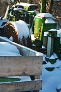 Storm Prints Acrylic Prints - Snow Covered Tractor Acrylic Print by PainterArtist FIN