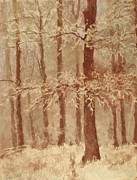 Winter Scene Pastels Prints - Snow Covered Tree Print by Barbara Smeaton