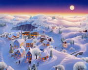 Folk Prints Posters - Snow Covered Village Poster by Robin Moline