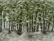 Snowscape Paintings - Snow Day by Hillary Binder-Klein