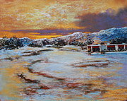 Golf Pastels - Snow Day in El Dorado by M Diane Bonaparte