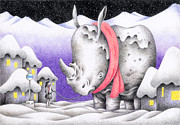 Snow Scene Drawings - Snow Day by T Koni