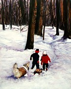 Sheepdog Paintings - Snow Days by Jeanne  McNally