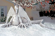 Sculpture Painting Prints - Snow Dragon 3 Print by Terry Reynoldson