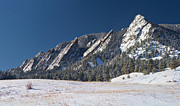 Winter Landscapes Photos - Snow Dusted Flatirons Boulder Colorado Panorama by James Bo Insogna
