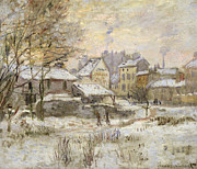 Chimney With Smoke Prints - Snow Effect with Setting Sun Print by Claude Monet