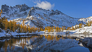 Leavenworth Photos - Snow Fallen on Autumn by Mike Reid