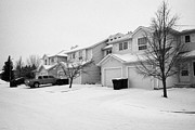 Snow Falling Prints - snow falling in residential street during winter Saskatoon Saskatchewan Canada Print by Joe Fox