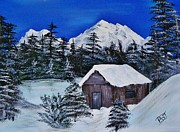 Saint Jean Art Gallery Framed Prints - Snow Falling on Cedars Framed Print by Barbara St Jean