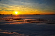 Nightfall Prints - Snow Fence at Mitchell State Park Michigan Print by Terri Gostola