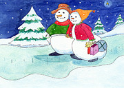 Wonderland Paintings - Snow Folks - Shoppers by Katherine Miller