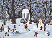 Game Painting Prints - Snow Follies Print by Judy Joel