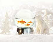 Christmas Bear Ornament Posters - Snow globe in  winter scene Poster by Sandra Cunningham