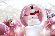 Snow Globe Framed Prints - Snow globe with pink  balls  Framed Print by Sandra Cunningham