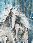 Pair Mixed Media Framed Prints - Snow Horses2 Framed Print by Mary Armstrong