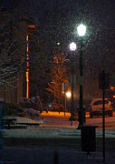 Snow In Downtown Grants Pass - 5th Street Print by Mick Anderson