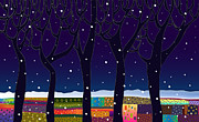 Dark Tapestries - Textiles Prints - snow in Europe Print by Yana Vergasova
