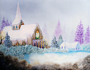 Kinkade Framed Prints - Snow in Florida Framed Print by David Kacey