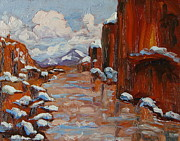 First Snow Paintings - Snow In The Colorado River Canyon Moab Utah by Zanobia Shalks