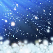Blue Digital Art Originals - Snow In The Wind by Atiketta Sangasaeng