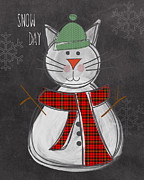 Christmas Card Mixed Media Metal Prints - Snow Kitten Metal Print by Linda Woods
