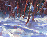 Lit Paintings - Snow Laden - winter snow covered trees by Talya Johnson