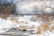 Snow-covered Landscape Digital Art Posters - Snow Lake Poster by Mary Timman