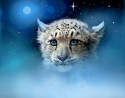 Snow Digital Art - Snow Leopard Cub by Robert Foster