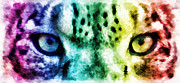 Leopard Mixed Media Posters - Snow Leopard Eyes 2 Poster by Angelina Vick