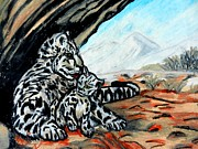Wild Animal Pastels Posters - Snow Leopard Mother And Cub Poster by Jo-Ann Hayden