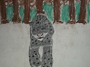 Snow Pastels Originals - Snow Leopard Pastel On Paper by William Sahir House