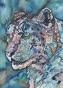 Blue Mushrooms Painting Posters - Snow Leopard Poster by Tamara Phillips