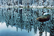 Contemplative Metal Prints - Snow Mirror Metal Print by Eric Glaser