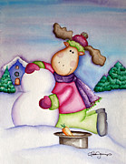 Snow Picture Paintings - Snow Moose by Danise Abbott