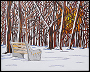 Park Benches Painting Posters - Snow Morning Sun Poster by Mike Stanko