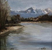 Suzanne Tynes Art - Snow mountain by Suzanne Tynes
