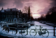 Snow On Amsterdam Canals Print by Farrell Gehan