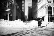 Winter Photos Prints - Snow on Broadway 1990s Print by John Rizzuto