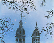 Snow Mixed Media Originals - Snow on Churches by Michael  Pattison