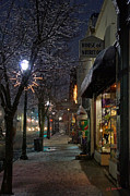 Mick Anderson Prints - Snow on G Street 3 - Old Town Grants Pass Print by Mick Anderson