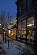Snow On G Street - Old Town Grants Pass Print by Mick Anderson