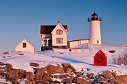 Cape Neddick Lighthouse Posters - Snow on Nubble Light Poster by Michael Blanchette