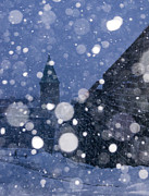 Flurries Posters - Snow on old Quebec City Poster by Arkady Kunysz