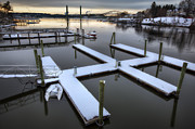 New England Snow Scene Framed Prints - Snow on the Docks Framed Print by Eric Gendron