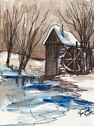 Abstract Mother And Child Paintings - Snow On The Farm by Anna Sandhu Ray