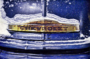 Chevy Pickup Photo Prints - Snow on the Grille Print by Ken Smith